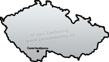 Mapa České republiky se zakresleným městem České Budějovice