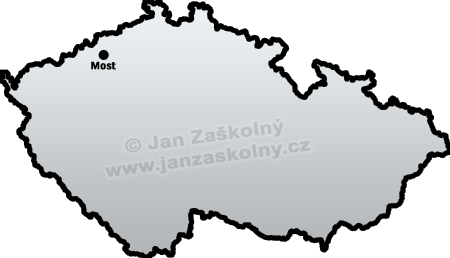 Map of Czech Republic and Most