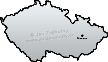 Map of Czech Republic and Olomouc