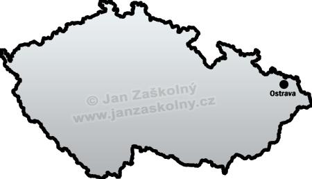 Map of Czech Republic and Ostrava