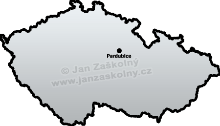 Map of Czech Republic and Pardubice