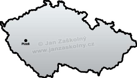 Mapa České republiky se zakresleným městem Plzeň