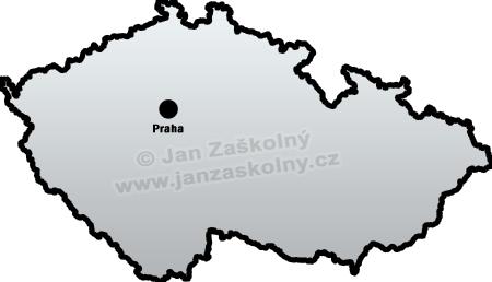 Mapa České republiky se zakresleným městem Praha