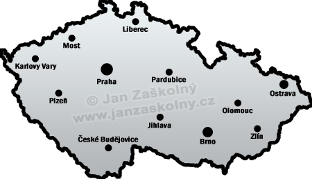 Map of Czech Republic and cities